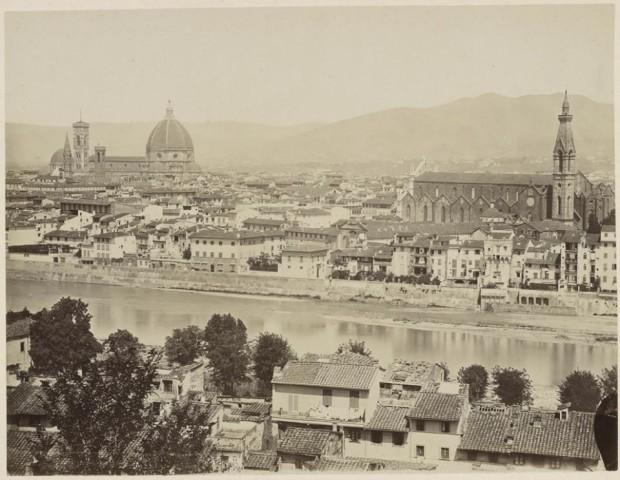 Firenze - Santa Croce prima della costruzione della Biblioteca